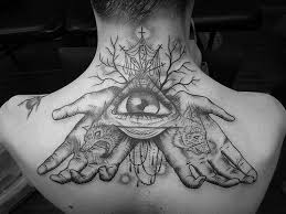 illuminati triangle tattoo on back neck photo 2 2017 real photo