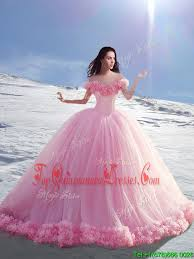quinceanera dresses the shoulder pink gowns made flower 15