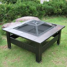 ikayaa metal garden patio fire pit stove brazier outdoor fireplace
