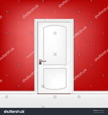 white room door on red background stock vector 465062918