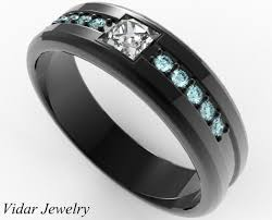 black wedding band mens wedding band black gold aquamarine princess cut diamond ring