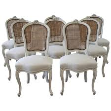 antique french dining table and chairs impressive set of eight vintage french painted cane back dining