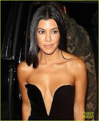 kourtney kardashian wears low cut dress for date night with younes