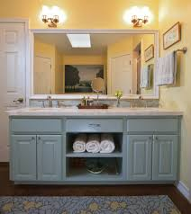 diy mirror frame ideas bathroom traditional with blue vanity