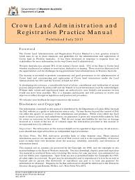 crown land practice manual territorial waters lease