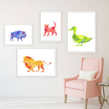 online get cheap funky wall murals aliexpress com alibaba group watercolor animals painting canvas art print poster funky mural nursery wall art picture living room home
