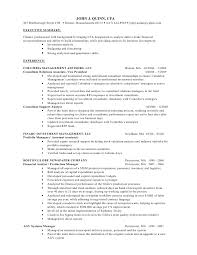 Example Finance Resume by John J Quinn Cfa Finance Resume