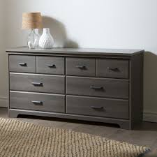 bedroom 6 drawer double dresser wardrobe cabinet in grey maple