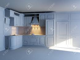 classic kitchen cabinets in new interior grey materials stock