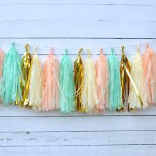 peach mint tassel garland kit rustic chic wedding decor