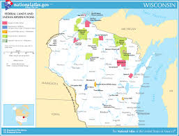 Wisconsin Usa Map by Map Of Wisconsin Map Federal Lands And Indian Reservations