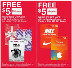 gift cards deals free 5 gift card wyb nike itunes or visa gift cards at walgreens