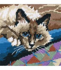 dimensions cuddly cat mini needlepoint kit needlepoint kits