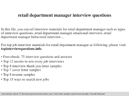 Retail Department Manager Resume Retail Department Manager Interview Questions