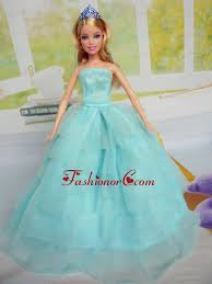 quinceanera dolls beautiful aqua blue party clothes for noble quinceanera doll tulle