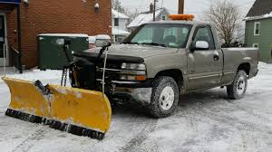 chevy silverado 1500 with meyers v plow with some plowing advice