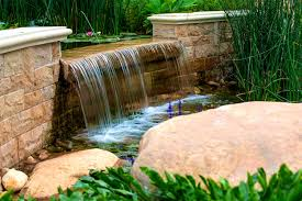 patio scenic water fall feature landscape designs outdoor bay