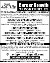 Jobs180 Resume National Sales Manager Job La Vie Pvt Ltd Job Lavie Pharma Job