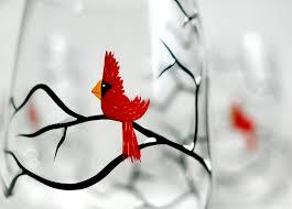 christmas cardinals stemless wine glasses set of 4 hand