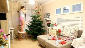 decorate tree in bright bedroom time lapse put