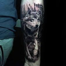 walking wolf mens inner forearm 3d tattoos