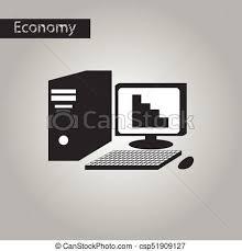 bureau informatique noir style bureau informatique noir blanc icône illustration