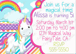 Create Birthday Invitation Cards Unicorn Birthday Invitations Kawaiitheo Com