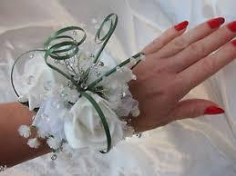 Prom Wrist Corsage Wedding Flowers Prom Wrist Corsage Buttonhole Rose Gyp U0026 Diamante
