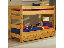 trendwood bunkhouse twin twin wrangler bunk bed with storage shown with 2 drawer underdresser
