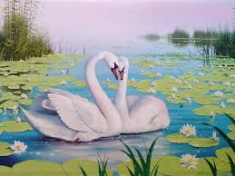 swan lake color lotus reeds art background wallpapers13 com