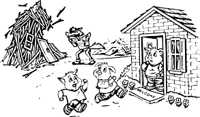 bad wolf blowing 3 little pigs coloring page wecoloringpage