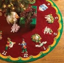 bucilla seasonal felt tree skirt kits plaid craft products