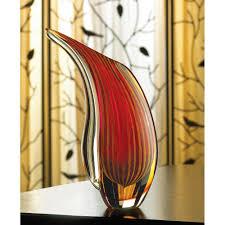 Modern Glass Vase Wholesale Hand Blown Crimson Sunset Art Glass Vase Modern