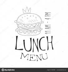 cafe lunch menu promo sign in sketch style with burger and opening