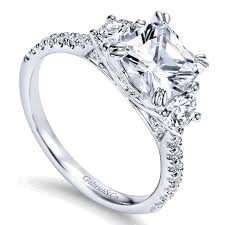 gold engagement rings cushion cut 14k white gold 3 cushion cut and pave band 14k white
