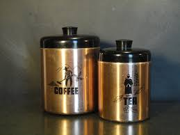copper kitchen canister sets mid century two piece hawthorn nesting kitchen canister set tea