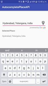 android development tutorials autocomplete google places api example