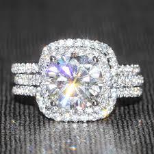 brilliant rings images Eternal moissanite 14k white gold 3ct round wedding engagement jpg