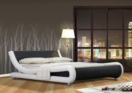 Faux Bed Frame Italian Designer Faux Leather Or King Black White