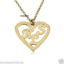 Couple Name Necklace 10k Yellow Gold Couple Initials U0026 Family Initial Inside A Heart