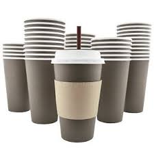 coffe cups 100 pack 16 oz disposable hot paper coffee cups lids sleeves