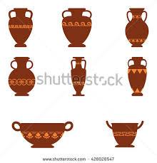 Greek Vase Design Set Logos Greek Antiquity Urns Vector Stock Vector 428028547