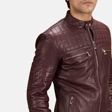 brown motorcycle jacket mens urbane quilted maroon leather biker jacket