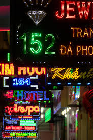 various colored commercial neon lights signs at ho chi mi