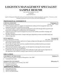 Warehouse Job Description For Resume by Logistics Specialist Job Description Logistics Manager Sample