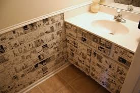 bathroom wall covering ideas recycle daily calendars to wallpaper a small space chica and jo