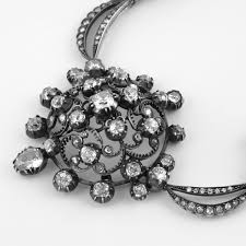silver gold diamond necklace images Diamond silver top and gold cluster necklace jpg