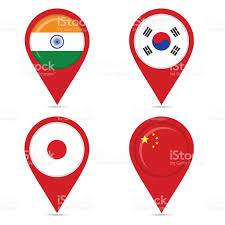 Pin Flags Map Pin Icons Of National Flags Of Asian Countries Stock Vector