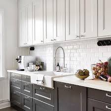 Kitchen Cabinets Black And White White Top Cabinets Bottom Cabinets Design Ideas