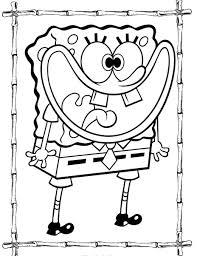 spongebob squarepants coloring page with bamboo frame spongebob